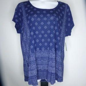 LUCKY BRAND Border Print Linen Blend Knit Top NWT
